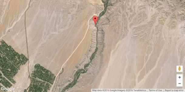 The ancient site of Quilcapampa, Peru [marked]. The rocky, sandy landscape hosts many mysterious geoglyphs.