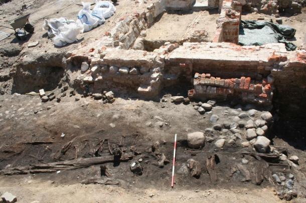 The market stalls of Odense undergoing excavation.