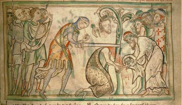The martyrdom of St Alban, from a 13th-century manuscript, now in the Trinity College Library, Dublin