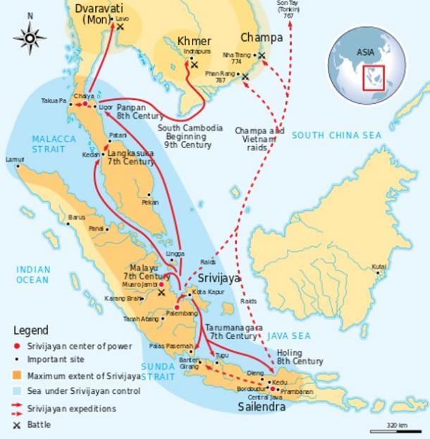 The maximum extent of the Srivijaya Empire during the 8th century.