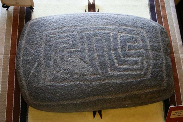 A maze stone from southern California. This stone is on display at the Ramona Museum.