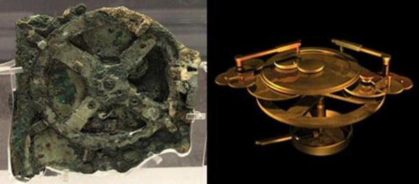 Left: The original Antikythera mechanism. Right: A reconstruction of the mechanism.