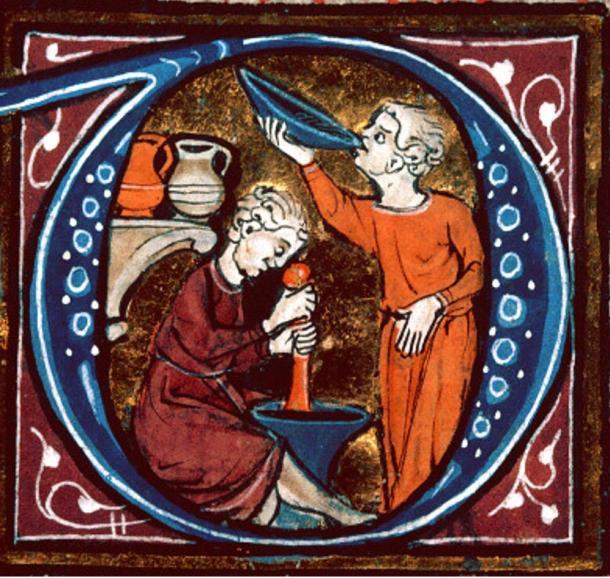 Medieval medicine. Detail of an illumination of 'medicinae Canon' of Avicenna