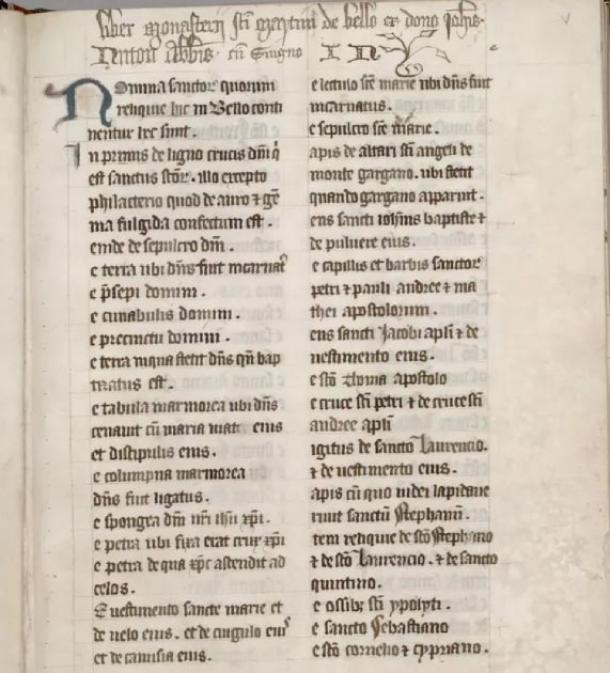 The medieval manuscript analyzed by English Heritage's Michael Carter, which lists the relics, including Santa's bone, in Battle Abbey. (Huntington Library)