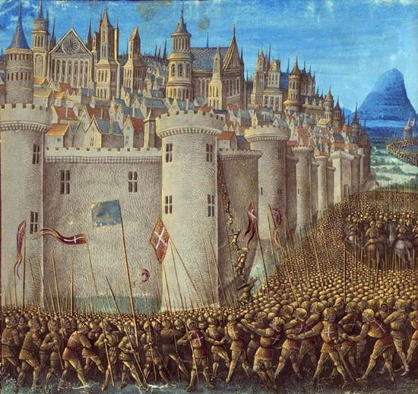 Detail of a medieval miniature of the Siege of Antioch from Sébastien Mamerot's Les Passages d'Outremer