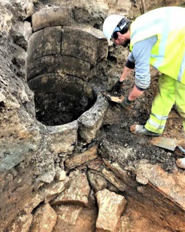 A medieval well under excavation