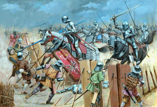 Medieval cavalry attack illustration. Battle with Teutonic knights. (Lunstream / Adobe Stock)