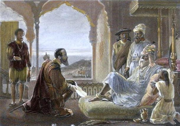 A steel engraving from the 1850s, with modern hand coloring showing the meeting of Vasco da Gama with Zamorin.