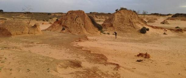 Searching for megafauna fossils in the Willandra Lakes World Heritage Area. Michael Westaway, Author provided