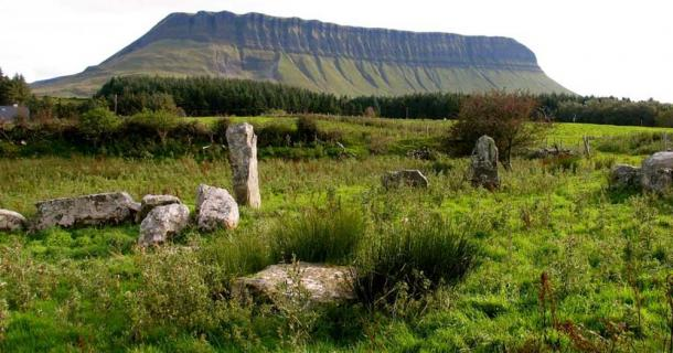 Remains of one of the megalithic sites on the north side of Ben Bulben, County Sligo, Ireland.
