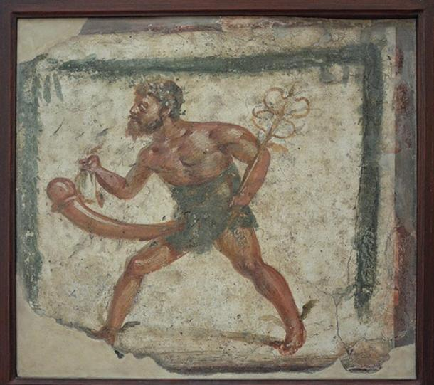 Priapus depicted with the attributes of Mercury in a fresco found at Pompeii, between 89 BC and 79 AD, Naples National Archaeological Museum