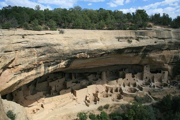 Mesa Verde National Park, Colorado. Cliff Palace, as seen from the trail leading to it.