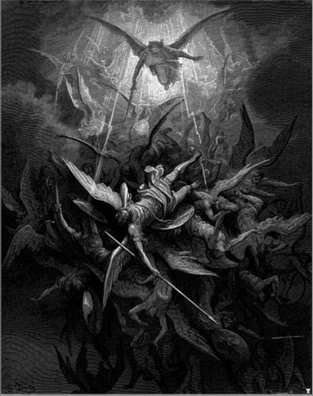 Michael casts out the rebel angels, from Milton's 'Paradise Lost'.
