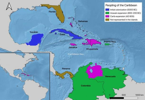 Proposed new three migration routes for the peopling of the Caribbean