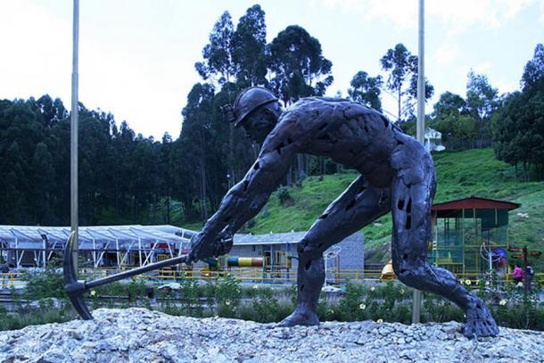 Statue of a miner in the Salt Park in Zipaquirá, Colombia.