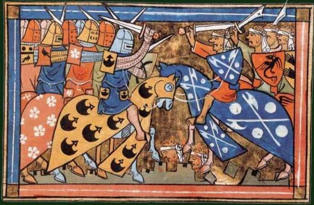14th-century miniature from William of Tyre's 'Histoire d'Outremer' of a battle during the Second Crusade, National Library of France, Department of Manuscripts