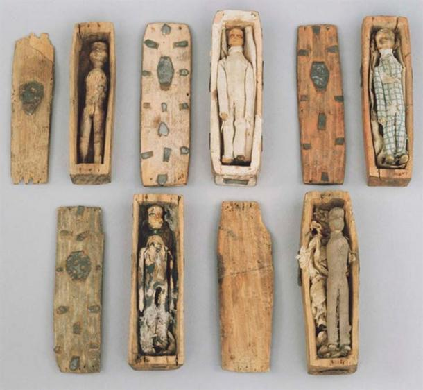 Five of the miniature coffins.