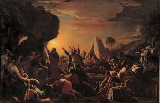 Moses creates the miraculous stream. Painting by the seventeenth-century artist François Perrier.