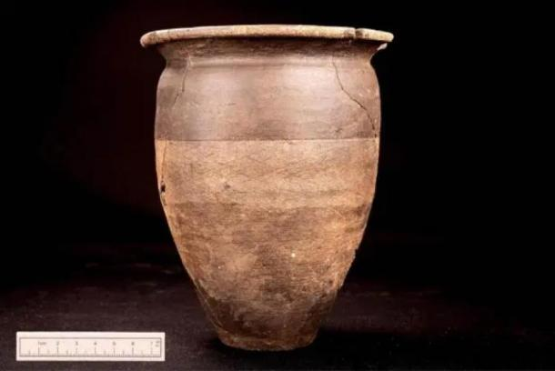 The miraculously preserved pot uncovered at the Roman burial site. (Wessex Archaeology)