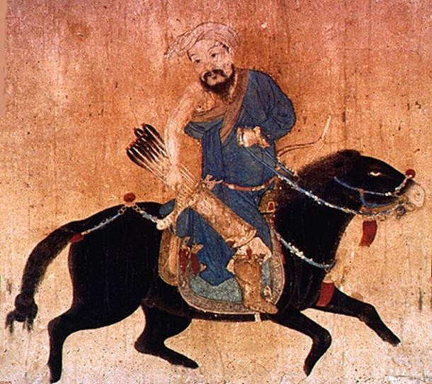 Drawing of a mobile Mongol soldier with bow and arrow wearing deel, traditional clothing.
