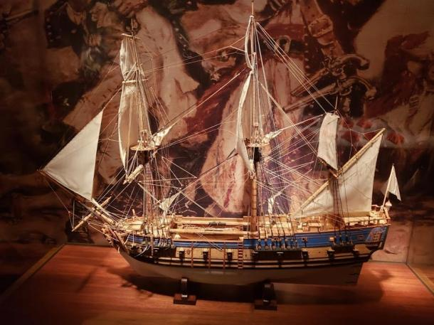Model of the Queen Anne's Revenge on display at the North Carolina Museum of History