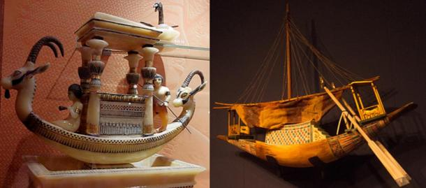 Two examples of model boats from Tutankhamun's tomb, from an expo in Paris in 2012 and Berlin in 2013