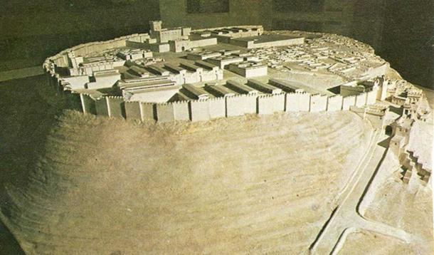 A model of what Megiddo may have looked like in 1457 BC. (1978 photo)