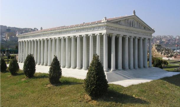 This model of the Temple of Artemis, at Miniatürk Park, Istanbul, Turkey, attempts to recreate the probable appearance of the first temple.