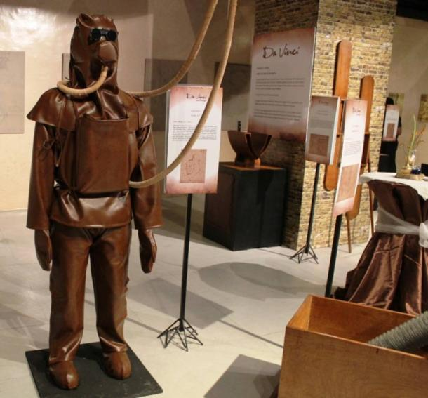 A model replica of da Vinci's diving suit