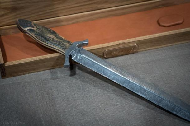 A modern Damascus sword by Nylund Knives, Finland.