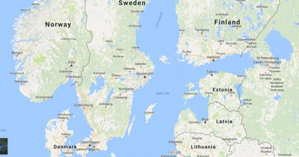 This modern Google map show Saaremaa Island off Estonia's coast.