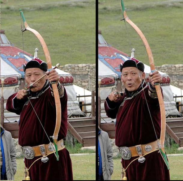 "A modern Mongolian archer. ""An absolute essential part of a Naadam (Festival) is archery. Mongolians use their thumb to draw the bow. Also, see how he controls his breathing at the last picture."""