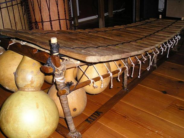 A modern balafon. The balafon plays an important role in the Epic of Sundiata. The magical balafon belonging to Soumaoro Kante was stolen by Sundiata Keita's griot - Balla Fasseke and taken to Mandinka country.