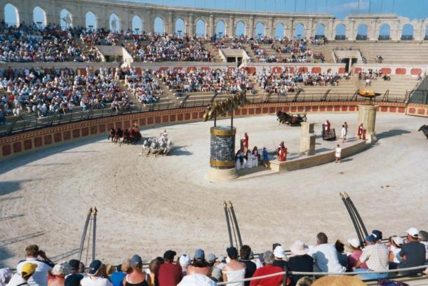 A modern re-enactment of a Roman chariot race at Puy du Fou theme park