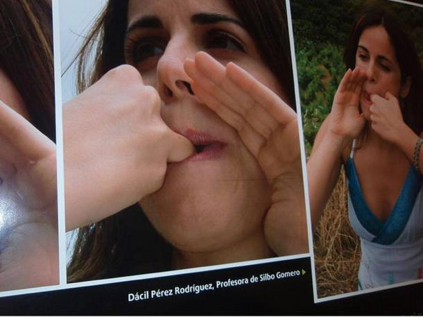 Photos depicting modern usage of the ancient whistling language Silbo Gomero.