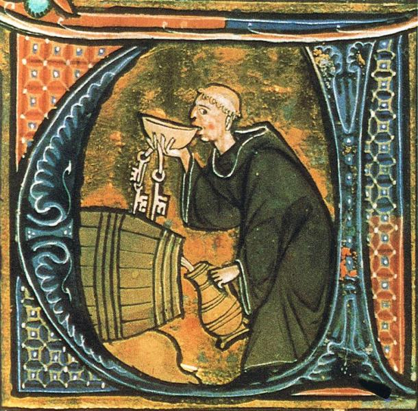 A monk sneaking a drink in the cellar. Illumination from a copy of 'Li livres dou santé' by Aldobrandino of Siena.