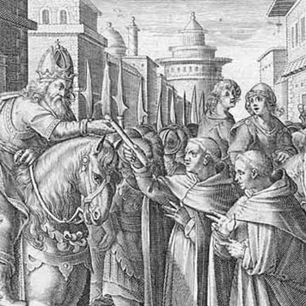 The monks sent by Justinian give the silkworms to the emperor.