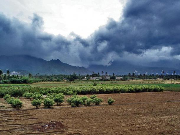 Advancing monsoon rain and winds near Nagercoil, India. These strong winds affected maritime trade voyages.