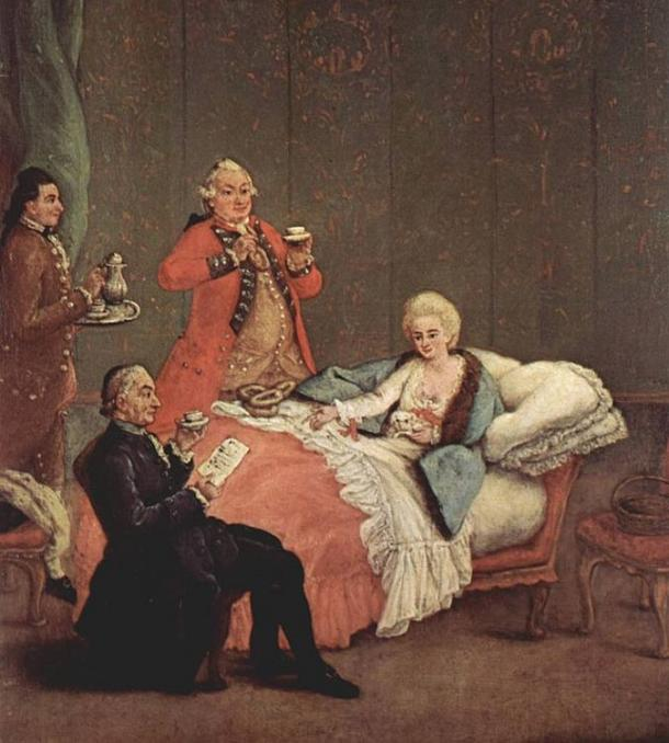 Chocolate soon became a fashionable drink of the nobility after the discovery of the Americas. The morning chocolate by Pietro Longhi