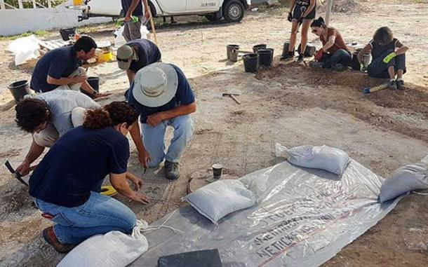 Working on the 1,500-year-old mosaic at Ashdod-Yam.