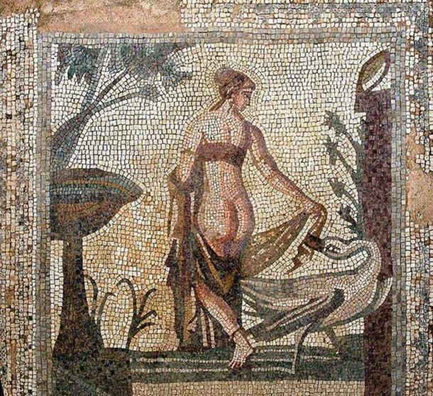 A mosaic depicting Leda and the swan, circa third century AD, from the Sanctuary of Aphrodite, Palea Paphos; now in the Cyprus Museum, Nicosia. (Public Domain)