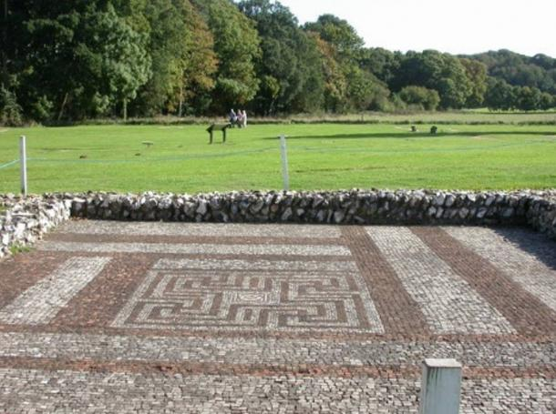 The mosaic floor of a swastika-like design in Rockbourne villa's dining room