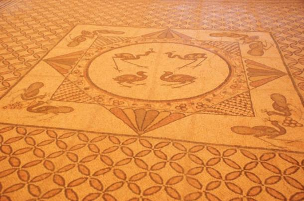 The beautiful mosaic floor of  the 1,500-year-old synagogue that burned when the town of Ein Gedi was destroyed by fire