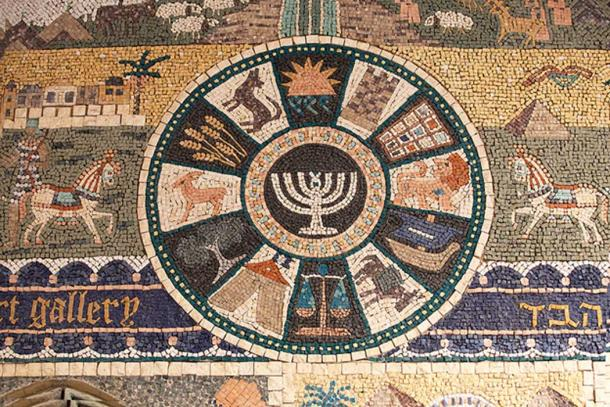 A mosaic in the Jewish Quarter representing the 12 Tribes of Israel, including the Danites