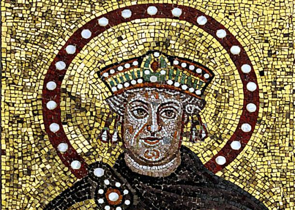 A mosaic of an older Justinian