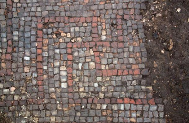 Detail of the swastika in the mosaic pavement.
