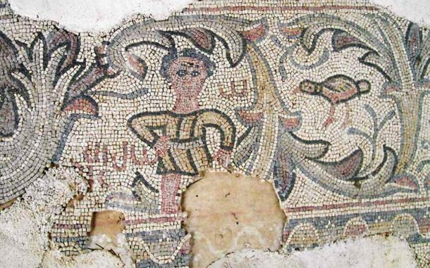 Part of a Byzantine-era mosaic unearthed in 2007 in the Christian town in Galilee. (Israel Antiquities Authority)