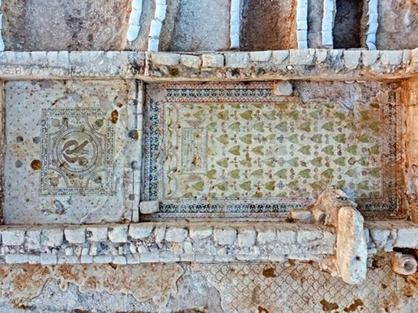 Mosaics discovered on the Byzantine church floor. (Assaf Peretz / Israel Antiquities Authority)