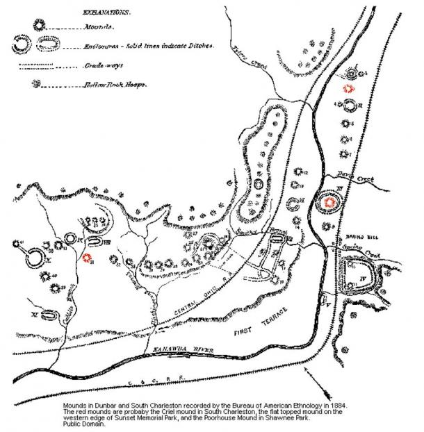 Mounds in Dunbar and South Charleston recorded by the Bureau of American Ethnology in 1884