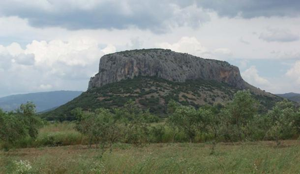 The mount where the archaeologically rich Theopetra cave exists.